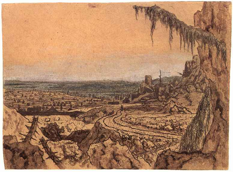 Херкюлес Питерс Сегерс. Пейзаж с далеким видом и ветвей ели на первом плане