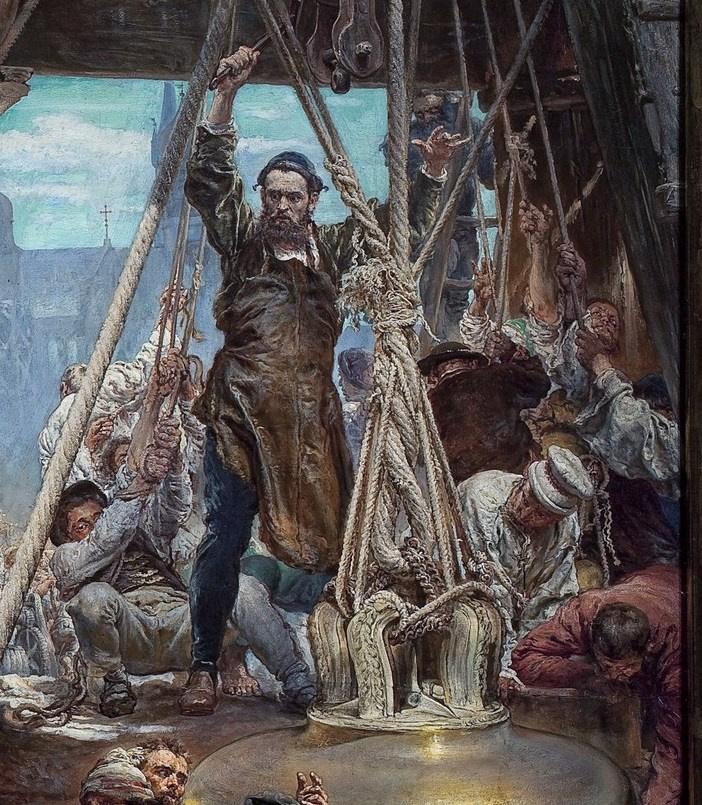 Ян Матейко. Подвешивание колоколов Зигмунта на башню собора в Кракове в 1521 году. Фрагмент VI