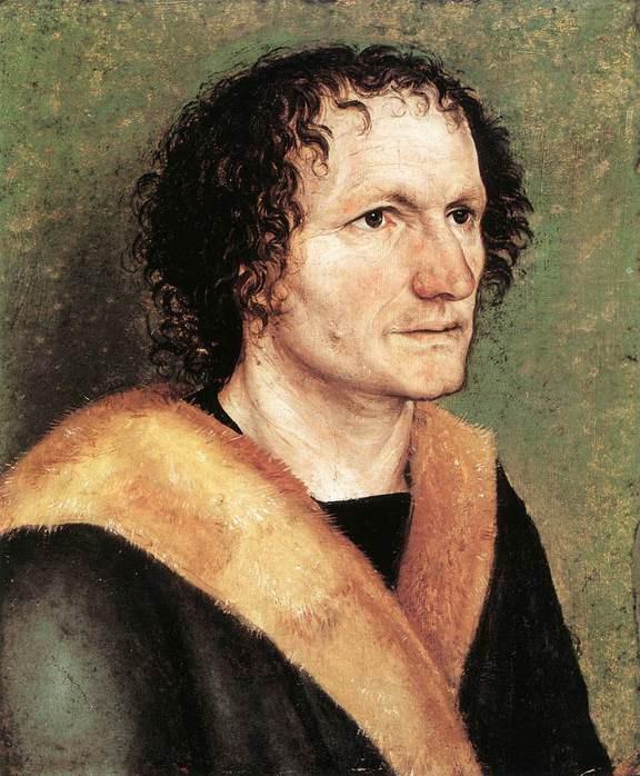 Альбрехт Дюрер. Портрет мужчины на зеленом фоне