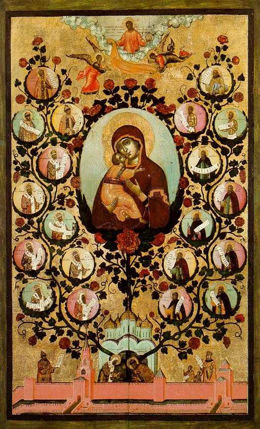 Icon Painting. Our lady of Vladimir (the Tree of state of Moscow)