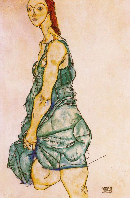 Egon Schiele. Girl in green dress
