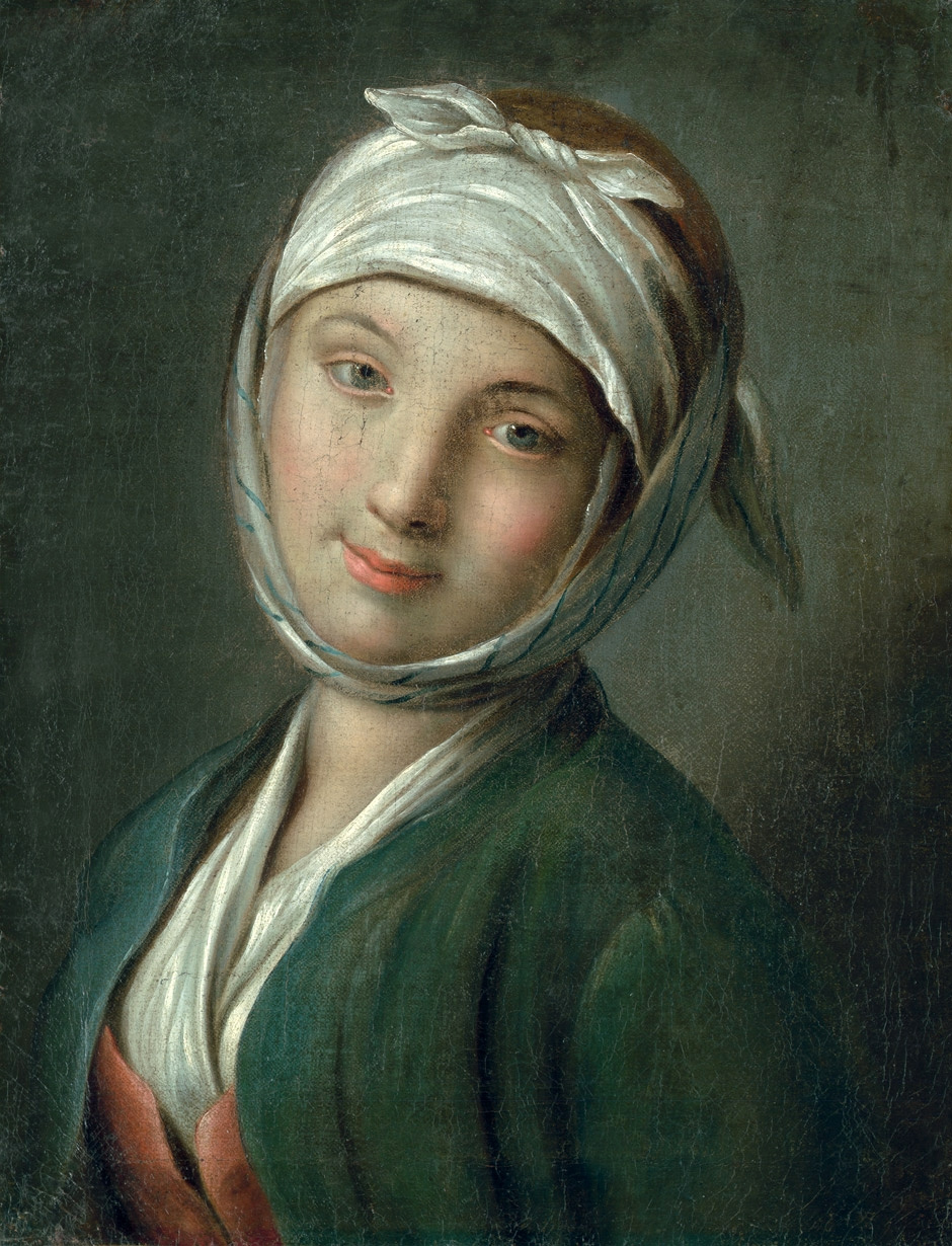 Pietro Rotary. Portrait of a woman with a white headscarf