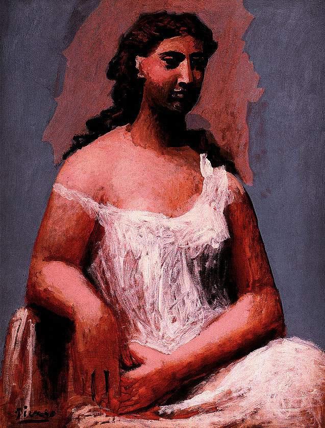 Пабло Пикассо. Женщина сидит в рубашке