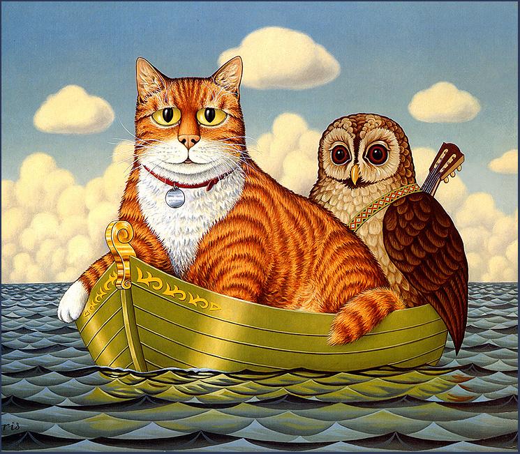 Картина сова и кот