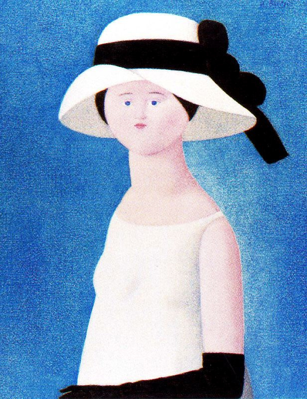 Антонио Буэно. Дама в белой шляпке с черной лентой
