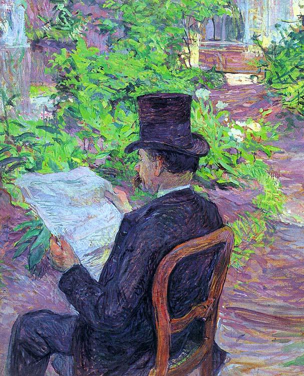 Анри де Тулуз-Лотрек. Дезире Дио (Чтение газеты в саду)