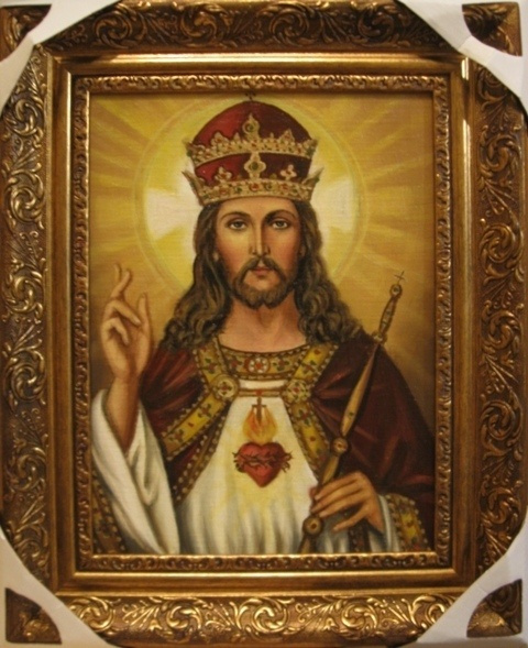 Jadwiga Senko. Jesus Christ is the king of the World - an icon of the Catholic (oil on canvas)