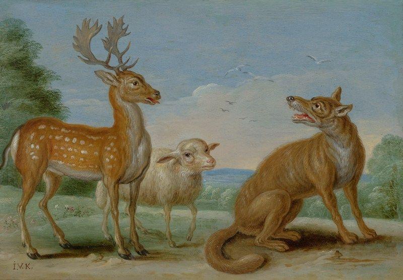 Jan van Kessel Elder. Wolf, deer and sheep