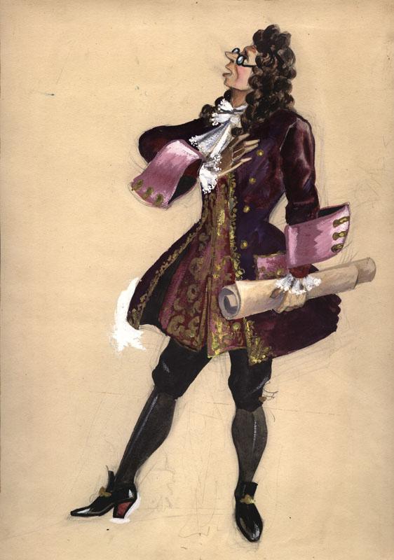 "Vladimir Vasilyevich Popov. Costume design for the play ""Dog in the Hay"""