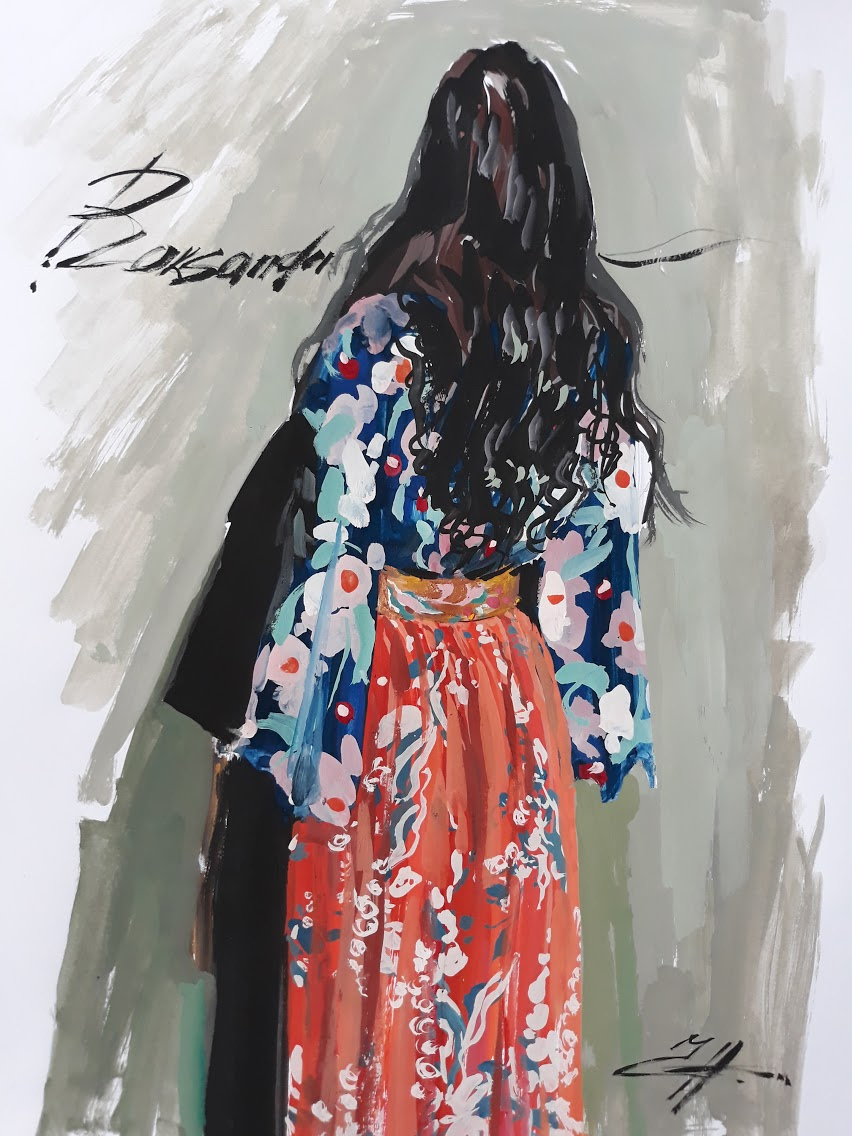 Nina Lavrentievna Chebotaeva. Model in a designer suit