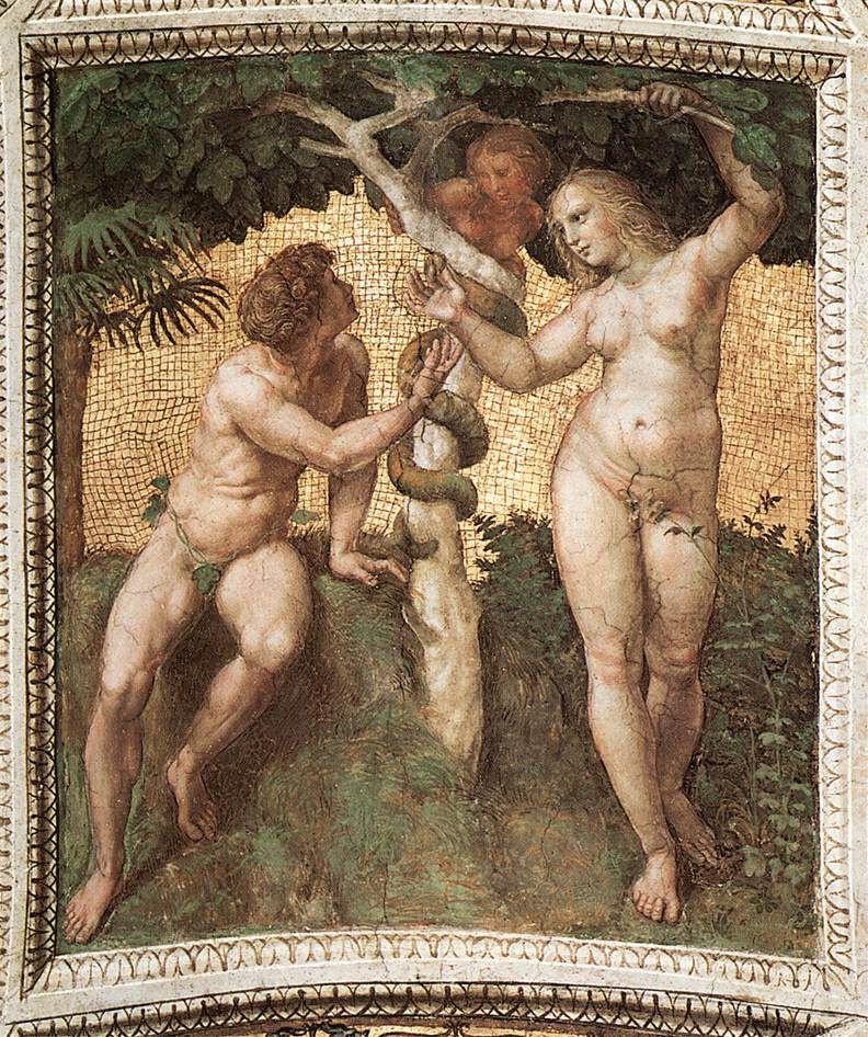 Рафаэль Санти. Станца делла Сеньятура в Ватикане. Роспись потолка. Адам и Ева