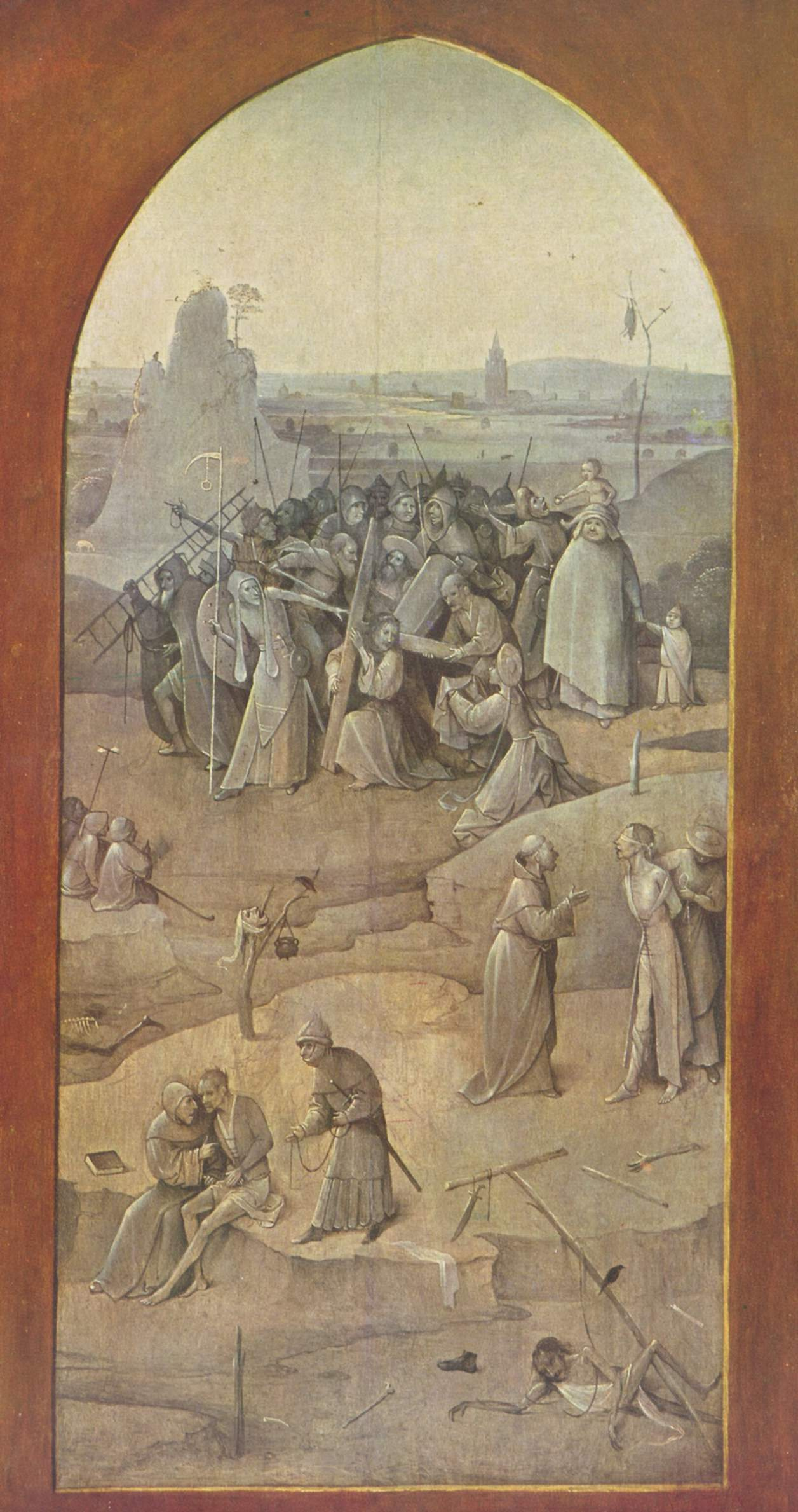 """Hieronymus Bosch. The carrying of the cross. Triptych """"The Temptation Of St. Anthony"""". Right outer fold"""