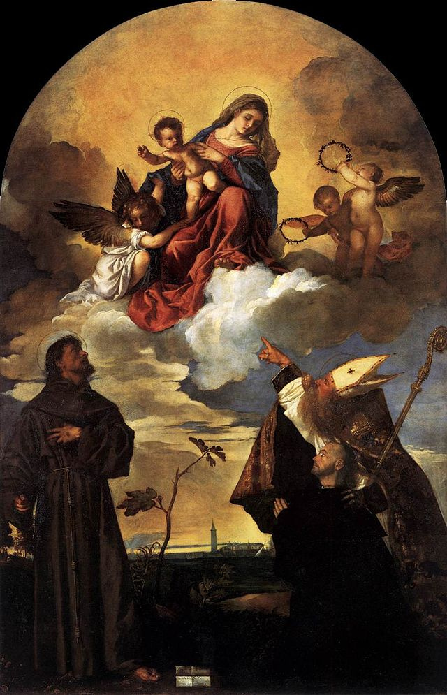 Titian Vecelli. Madonna Gozzi. Maria in glory with the infant Jesus and angels, St. Francis, Allvision and the kneeling donor Luigi Gozzi