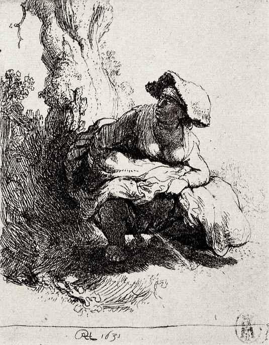 Рембрандт Ван Рейн. Мочащаяся женщина