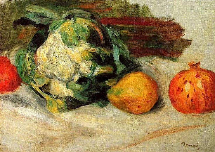 Pierre-Auguste Renoir. Cauliflower and pomegranates