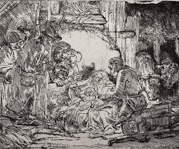 Рембрандт Ван Рейн. Поклонение пастухов, при свете лампы
