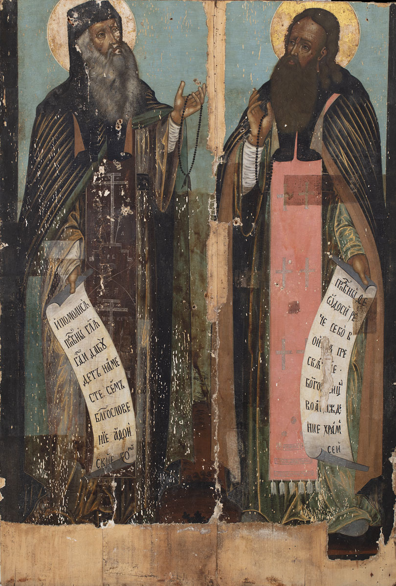 Icon Painting. Venerable Anthony and Theodosius of the Caves