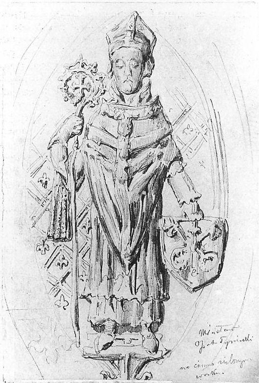 Ян Матейко. Мстислав, рисунок надгробия монастыря XIV века. Эскиз