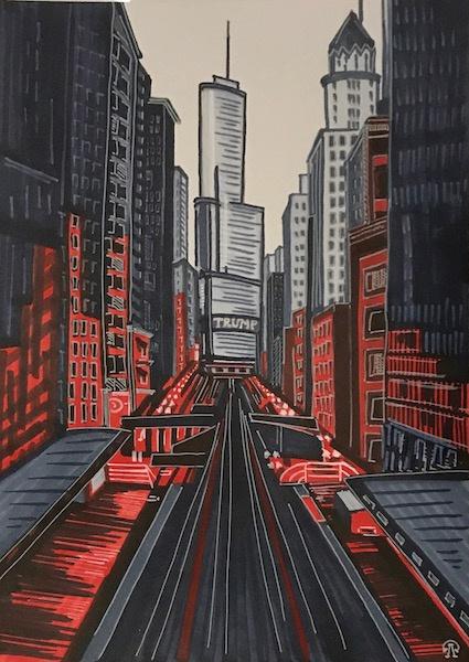 Larissa Lukaneva. The Trump Tower. Sketch.