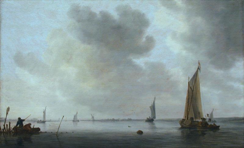 Jan van Goyen. Fishing boats at the mouth of the river