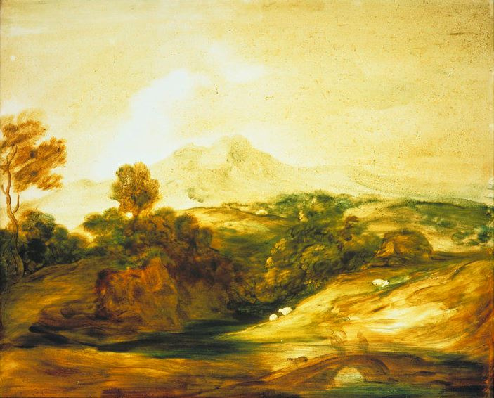 Thomas Gainsborough. Landscape with grazing sheep and a bridge across the river