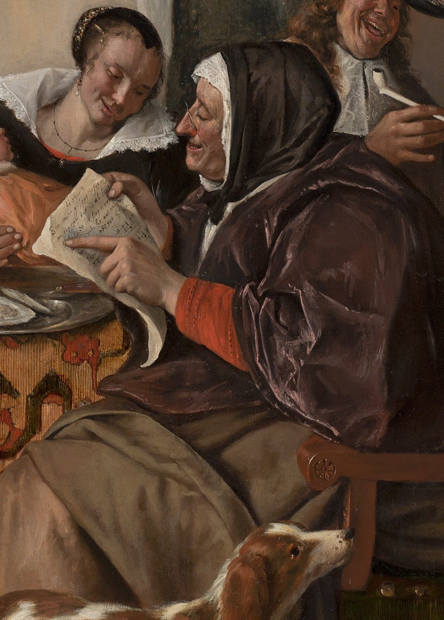 "Jan Steen. ""As the old sing, so the young pipe and plays"". Snippet: grandma"