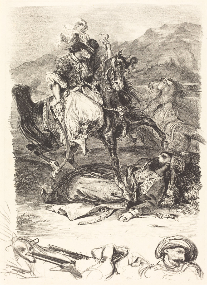 Eugene Delacroix. The battle of Giaour and the Pasha