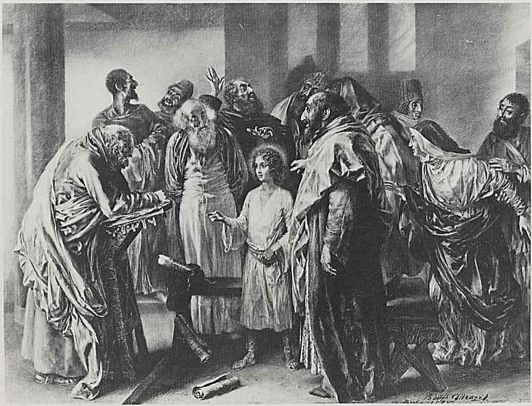 Адольф фон Менцель. Двенадцатилетний Христос в храме