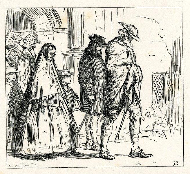 """Джон Эверетт Милле. Процессия на выходе из церкви. Иллюстрация к рассказу Харриет Мартино, """"Один раз в неделю"""""""