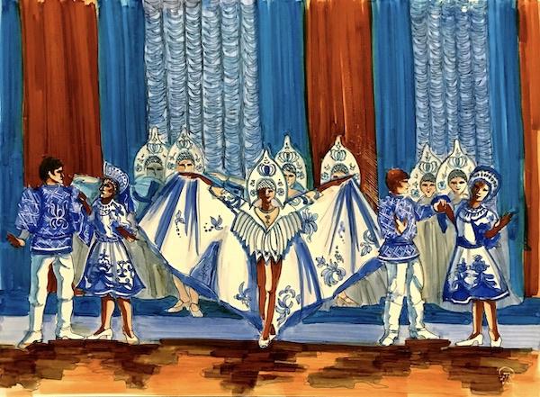 Larissa Lukaneva. Russian dance. Sketch.