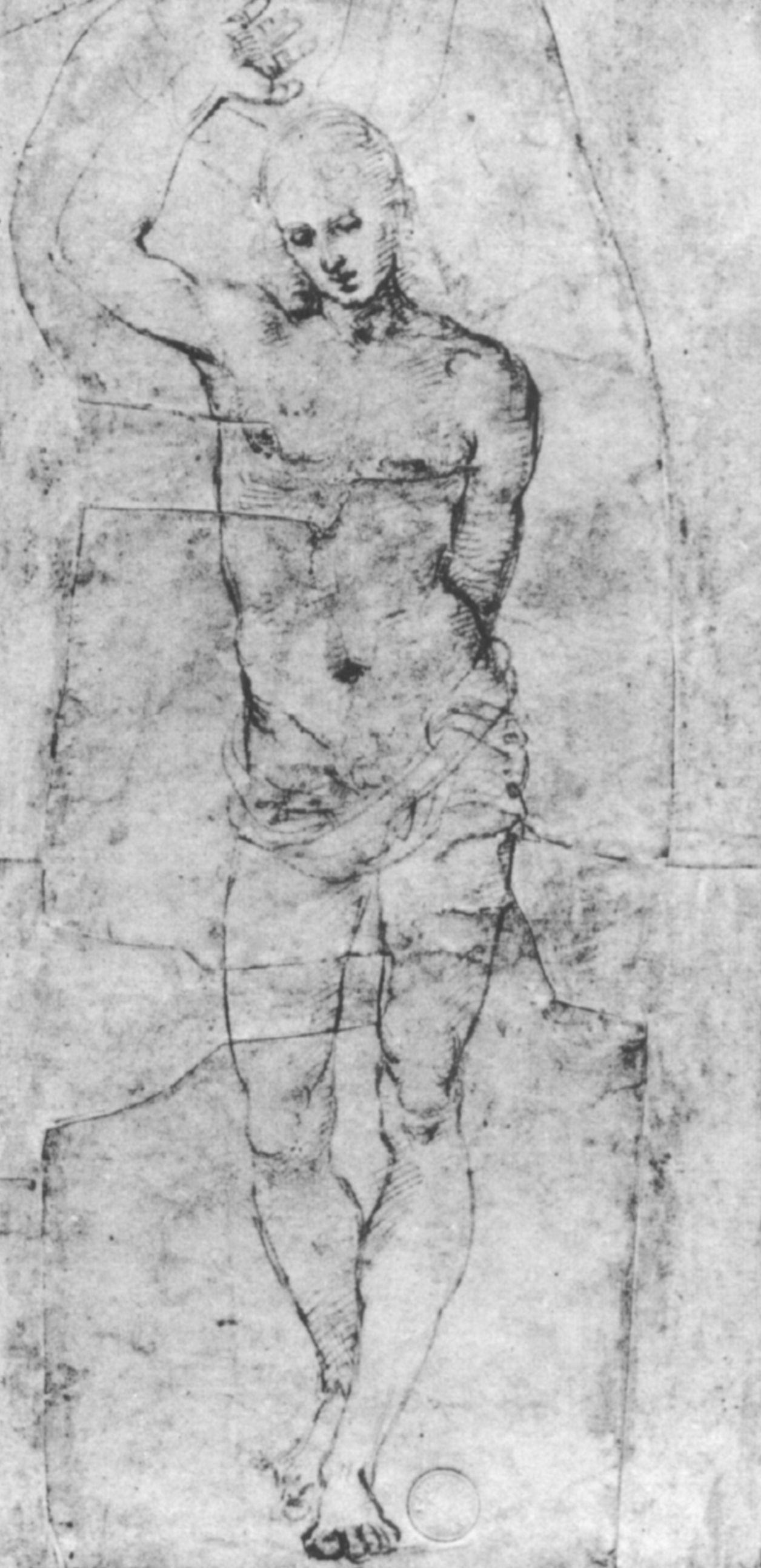 Raphael Sanzio. Sketch of a Nude figure in full growth for SV. Sebastian
