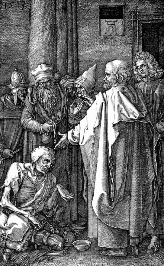 Альбрехт Дюрер. Святые Пётр и Иоанн исцеляют расслабленного