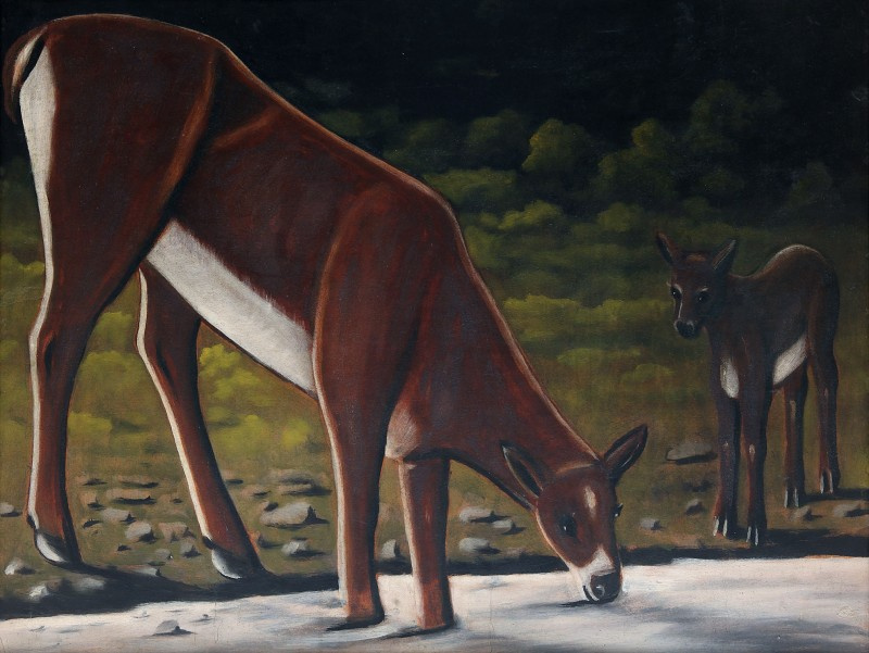 Niko Pirosmani (Pirosmanashvili). ROE deer with a calf at a waterhole