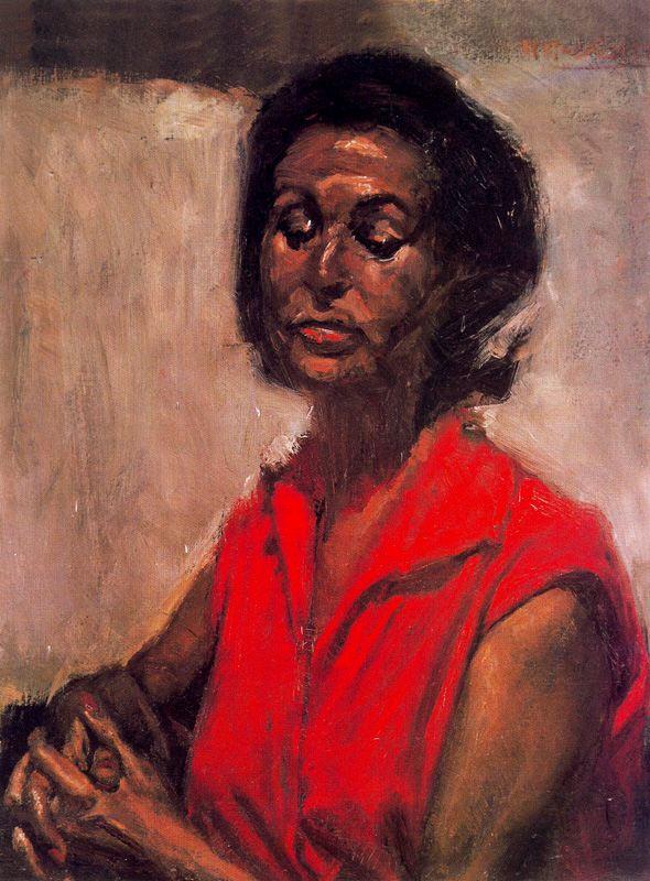 Baldomero Romero Ressendi. Portrait of woman in red