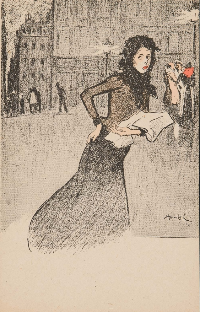 Theophile-Alexander Steinlen. Hurrying girl