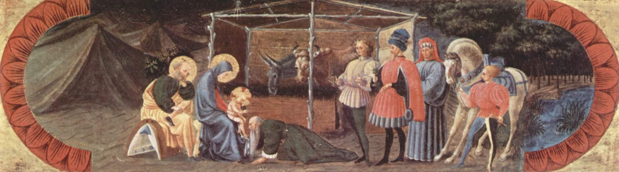 Паоло Уччелло. Пределла алтаря из Куаранты, центральная часть. Поклонение волхвов