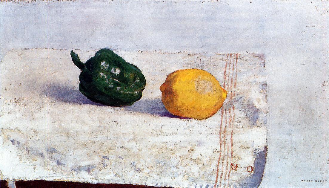 Одилон Редон. Перец и лимон на белой скатерти