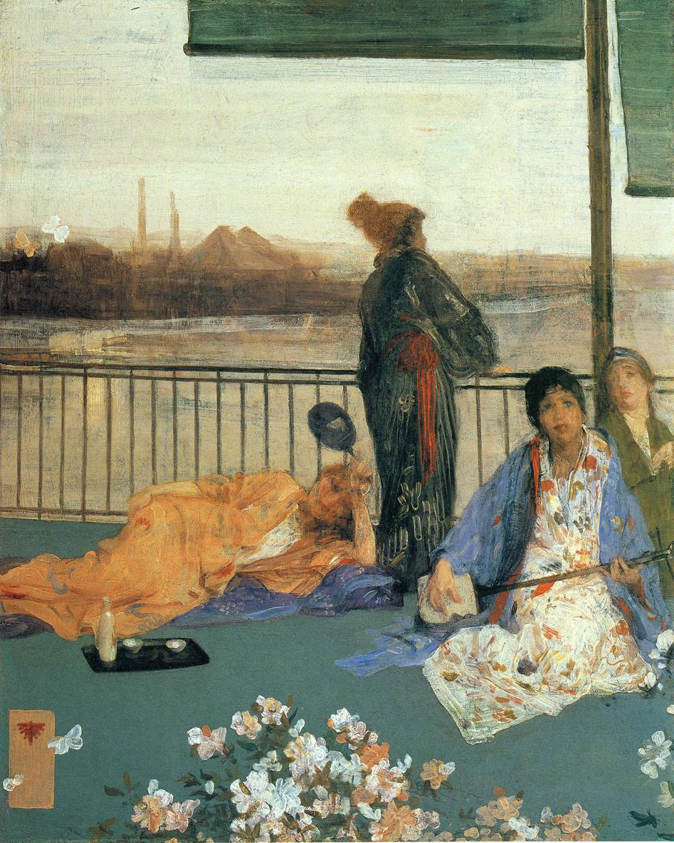 James Abbot McNeill Whistler. Variations in flesh color and green: the Balcony