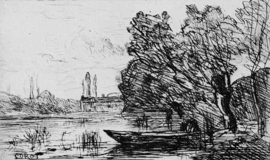 Камиль Коро. Виль д' Авре, лодка под ивами
