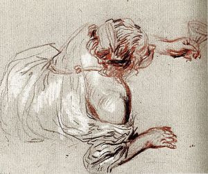 Antoine Watteau. Lying on the ground Bacchante