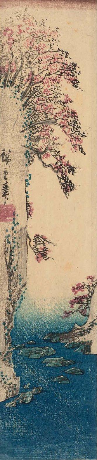 Утагава Хиросигэ. Цветущие деревья на скале, свисающие над морем