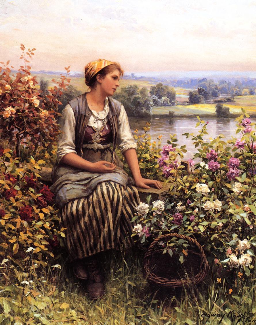 Daniel Ridgeway Knight. Girl with a basket