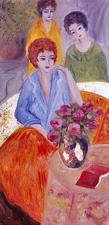 Три женщины и цветы