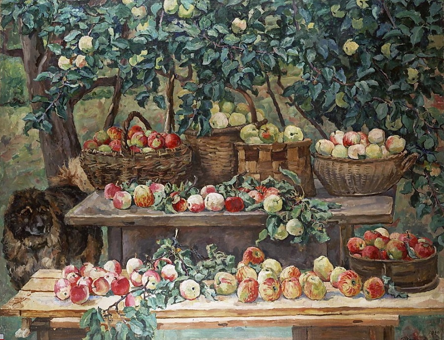 Petr Petrovich Konchalovsky. Apples and a dog-the watchman