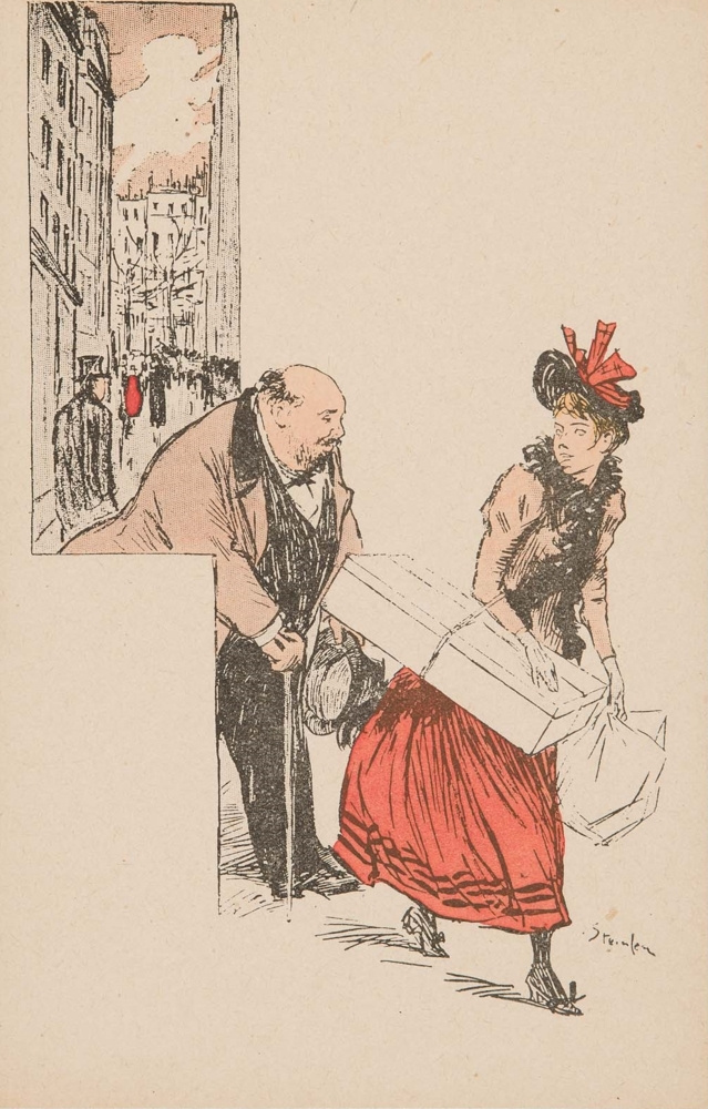 Theophile-Alexander Steinlen. A young woman with a middle-aged gentleman