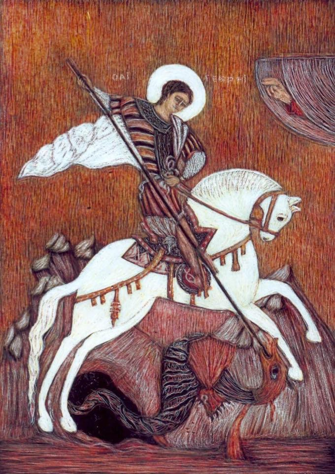 Martin Gurgenovich Ashkhatoev. St. George the Victorious free copy of the Rublev icon