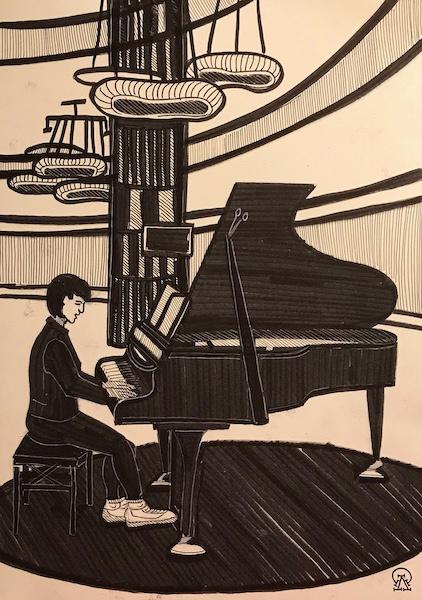 Larissa Lukaneva. Phu Quoc. Pianist. Sketch.