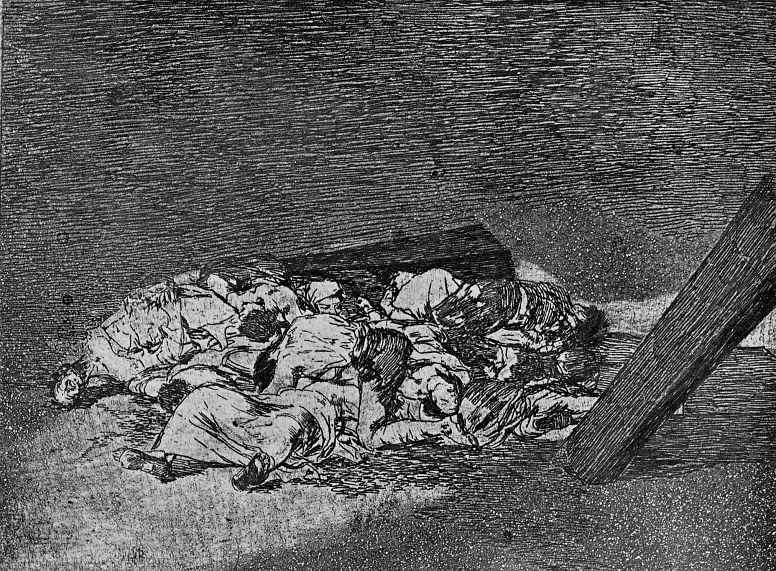 """Франсиско Гойя. Серия """"Бедствия войны"""", лист 63: Груда тел"""