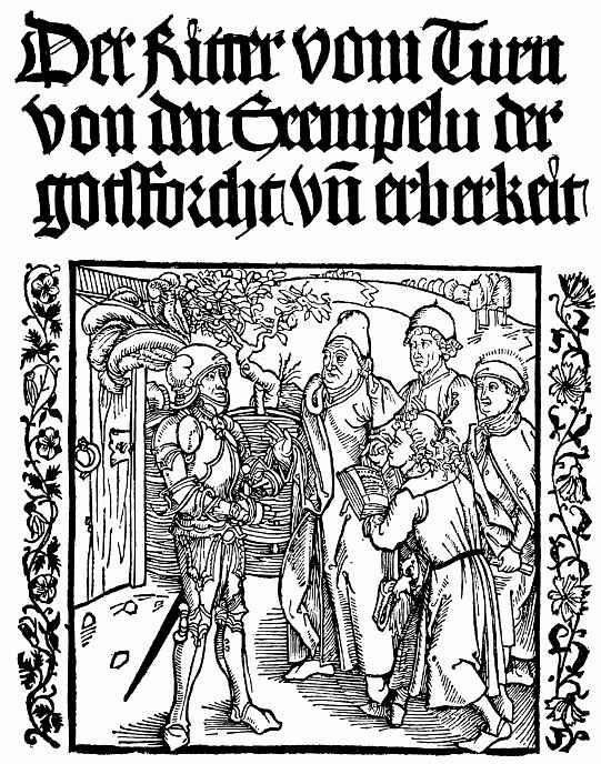Альбрехт Дюрер. Фронтиспис: Рыцарь повелевает двум писцам и двум священникам записать