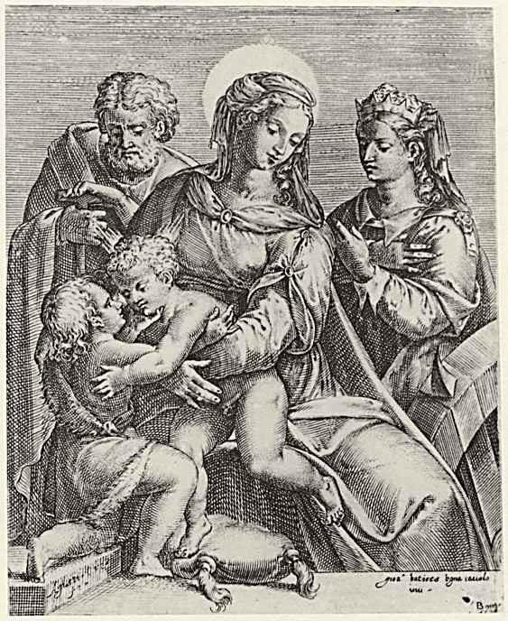 Агостино Карраччи. Святое семейство со святой Екатериной Александрийской и Иоанном Крестителем